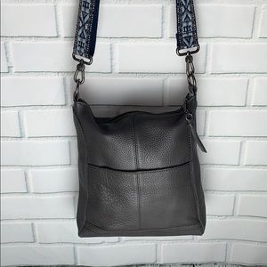 Pretty Grey Leather Crossbody Bag .